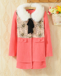 korean style doll fur collar slim suit jacket women's wool coat