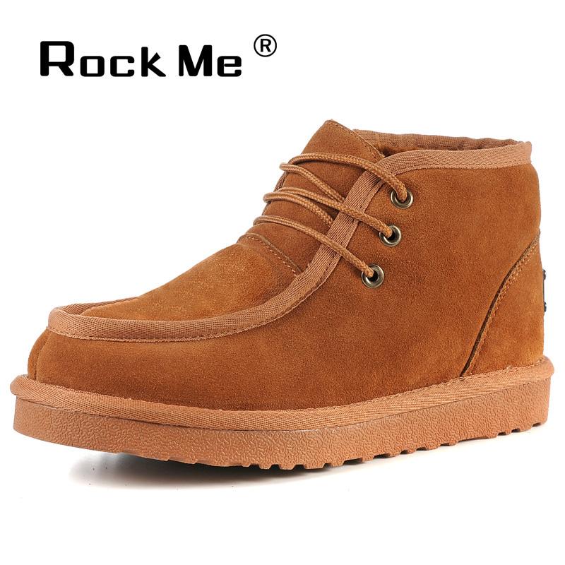 【清仓-新品】 Rock Me 雪地靴 保暖毛皮 男式短靴 牛筋底 男靴