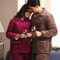 New coral fleece thicken cotton Pajamas fall winter jacket men and women couples sets special offer clearance
