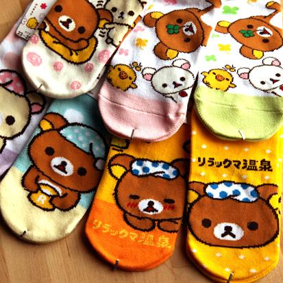 正版轻松熊卡通棉质秋冬款女袜子船袜短袜多款选H1291 萌熊出没