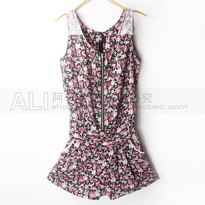 Женские брюки Alicun оптовой цене продать сад цветочный цельный короткий короткий комбинезон комбинезон шорты Шорты, мини-шорты Костюм