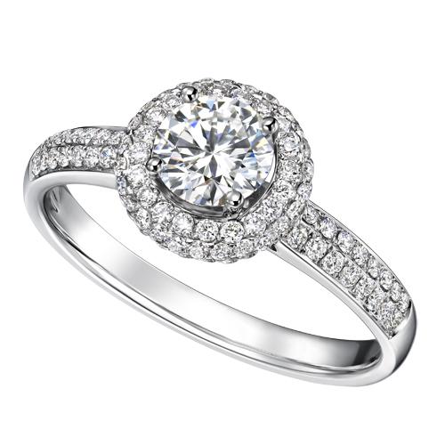 重庆钻石 50分钻戒正品18K白金钻石戒指结婚钻戒指 豪华群镶 裸钻