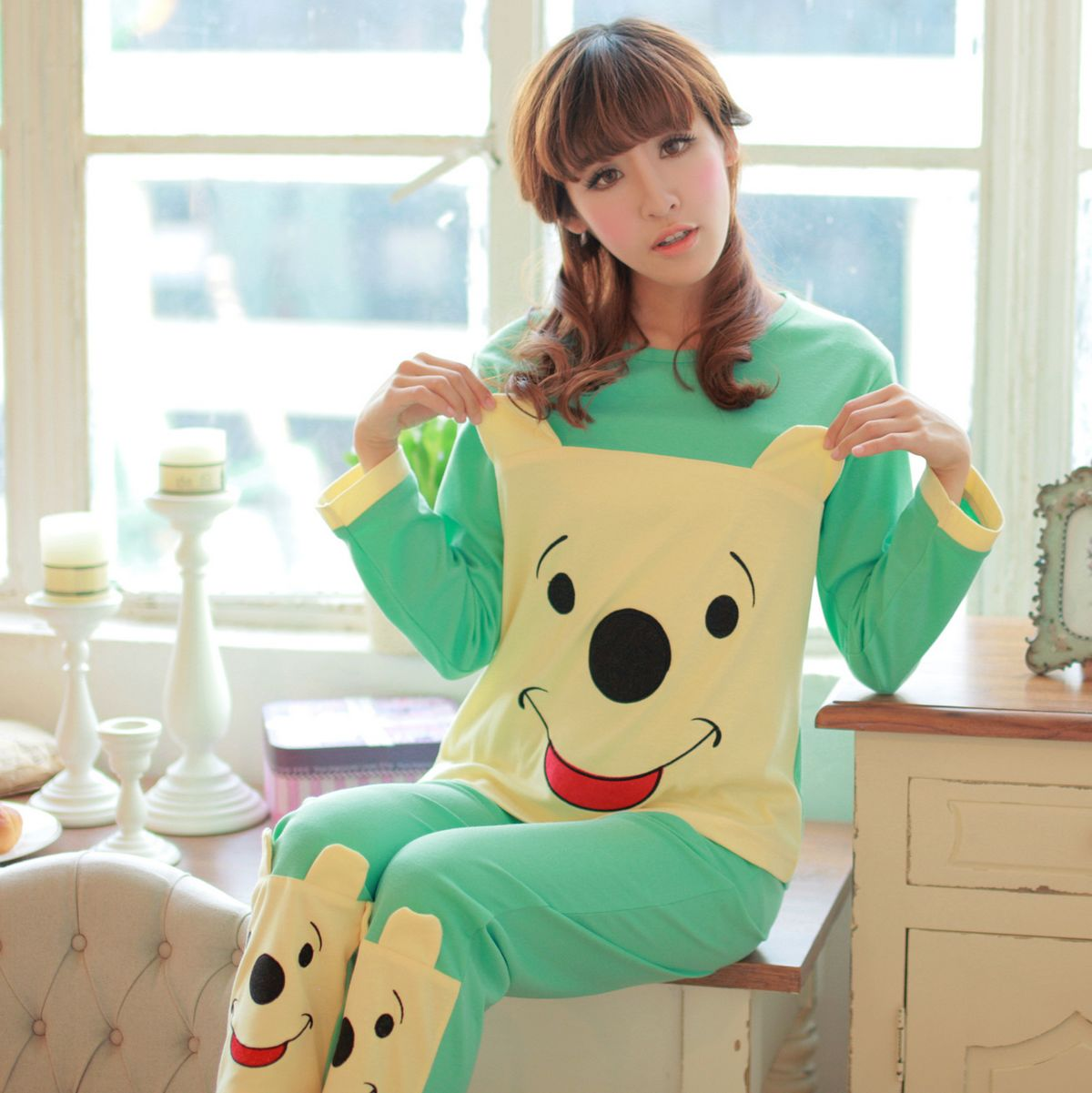 pajamas 2014 new spring and fall women knitted cotton casual long-sleeved cotton, the Cubs home service package. Jieyang, Guangdong