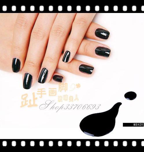 美甲用品 正品韩国优质进口指甲油 水亮钢琴黑 明星超显白款图片