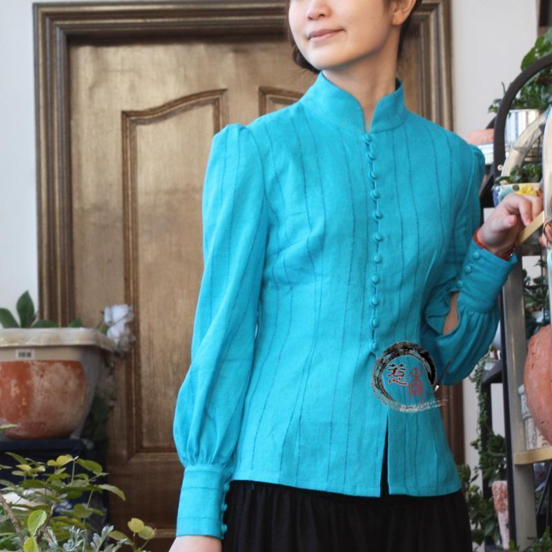 женская рубашка Jalan Hong Оригинальный дизайн Длинный рукав Однотонный цвет Воротник-стойка