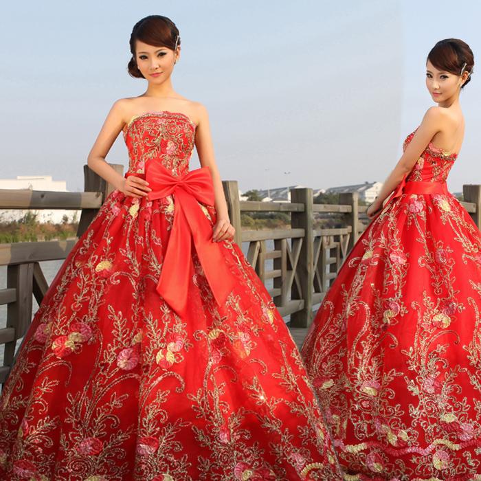 婚纱礼服敬酒服 抹胸红色婚纱 长款礼服晚装晚礼服 歌唱演出服