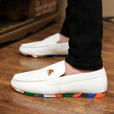 Free shipping 2014 new fall trend breathable male shoes British men's casual shoes white shoes Peas lazy shoes
