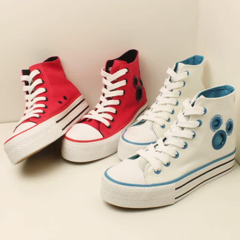2013春季米奇头高帮帆布鞋女 厚底松糕鞋韩版潮流 增高单鞋学生鞋