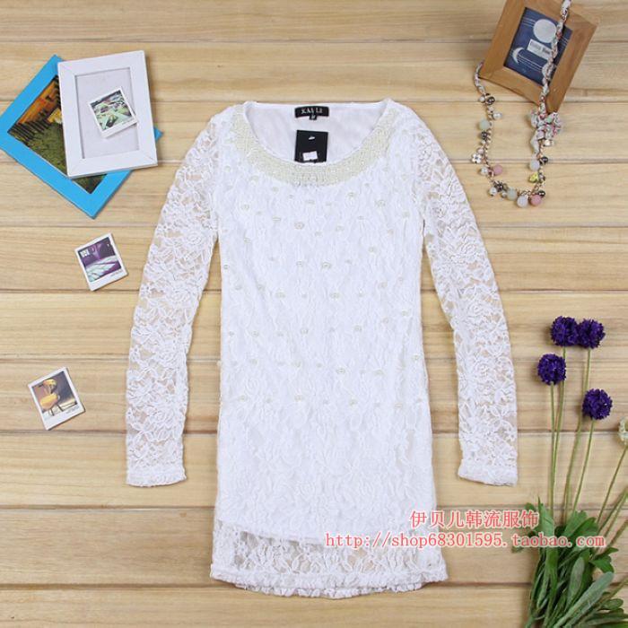 包邮春装2012新款 蕾丝打底衫 百搭女装韩版圆领蕾丝长袖 T恤小衫