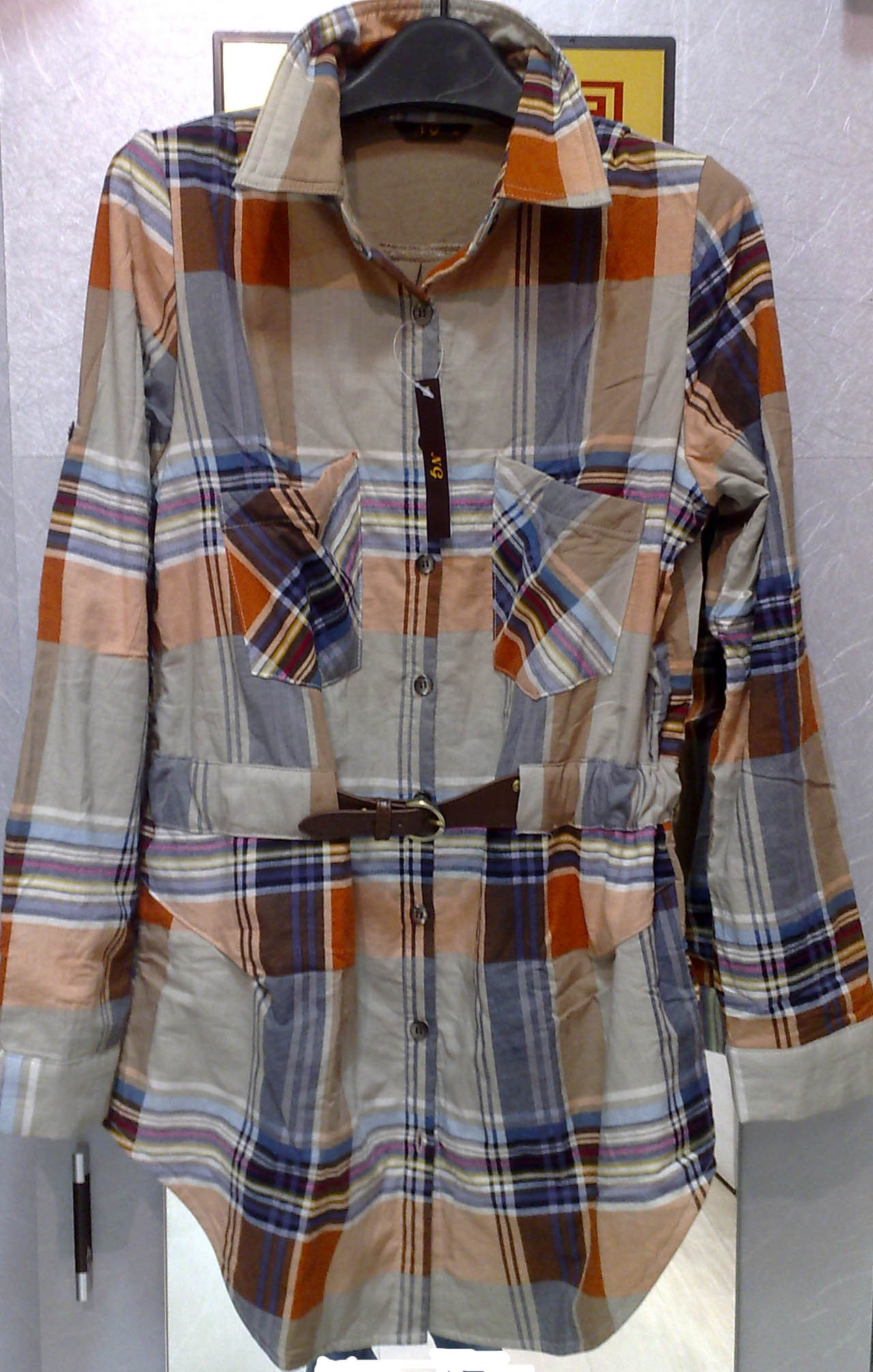 женская рубашка NG 013 2012 Casual Длинный рукав В клетку
