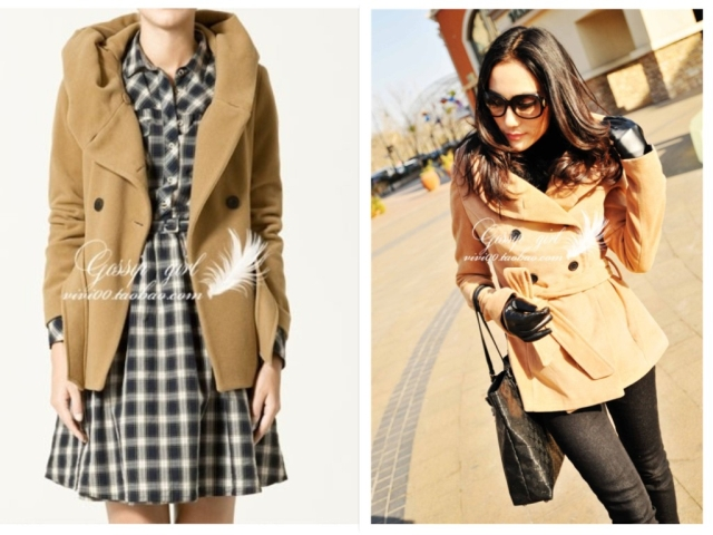 женское пальто Средней длины (65 см <длины одежды ≤ 80 см) Длинный рукав Классический рукав