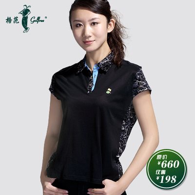 Women's golf apparel Paradigm golfree Egyptian cotton short sleeve / Butterfly black printed T-shirt