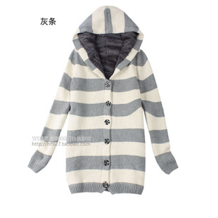 [6.9 fold] inside women's long thick wool cloth with soft nap of stripe even cap S1850-F07 sweater