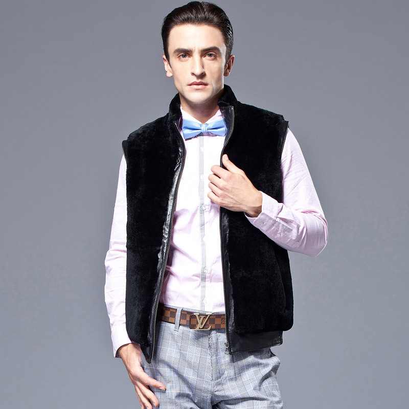 新款皮马甲 男士短款真皮皮衣 羊毛大身外套 皮毛一体 绵羊皮