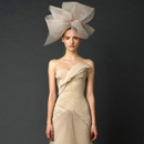 Vintage Flowy Slim Summer Organza Champagne Draped Asymmetric Strapless Scalloped Sheath Vera Wedding Dress Brush Train