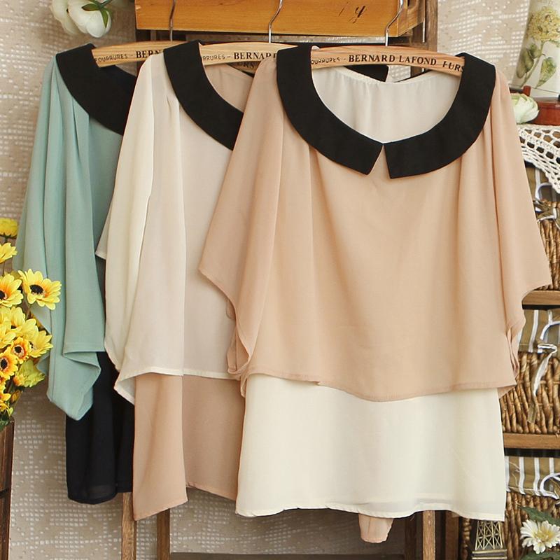Блузка P 7467-0,17 2012 новый стиль японский цвет Кукла воротник шаль битой рукав рубашки шифон женщин