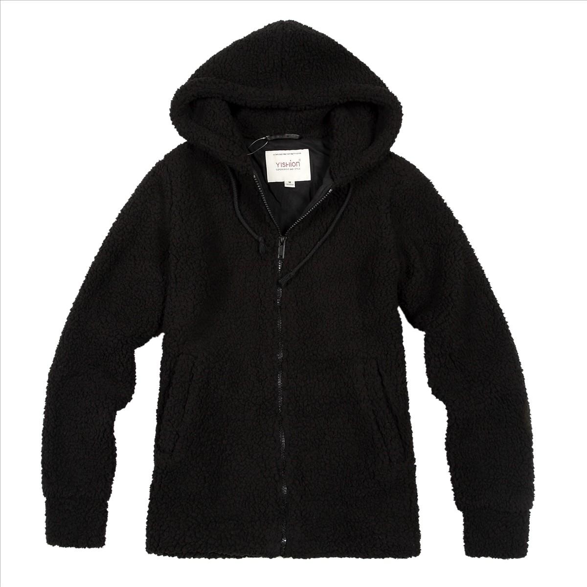 Короткая куртка Yishion 10321131 199 Городской стиль Прямой Обычная Длинный рукав С капюшоном Классический рукав Молния Полиэстер Однотонный цвет Обычный размер (50 см <длина одежды ≤ 65 см)