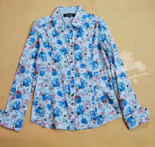 женская рубашка RO.ZU Городской стиль Длинный рукав Рисунок в цветочек