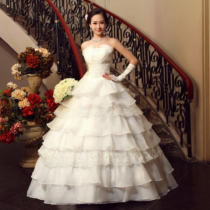 婚纱礼服 新款2012 韩版韩式婚纱礼服甜美公主抹胸齐地婚纱蕾丝