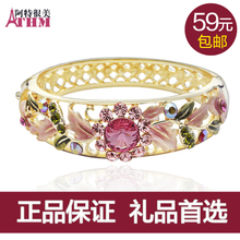 Zero Lie Te beautiful retro fashion crystal bracelet female wide cloisonne gift