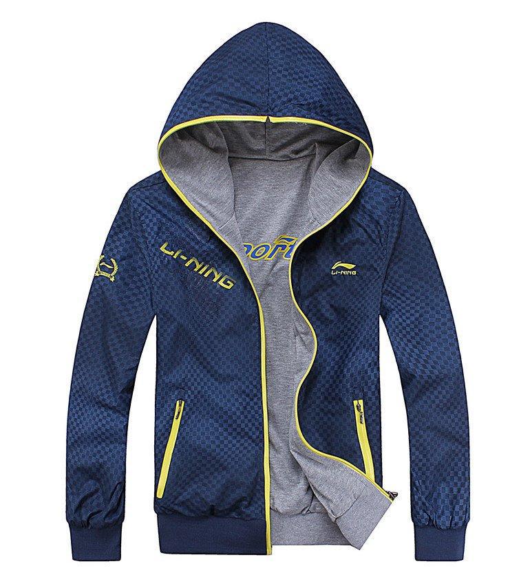 Спортивная куртка Lining 813 Для мужчин Воротник с капюшоном Молния Для спорта и отдыха Логотип бренда, Рисунок, Градиент, Камуфляж