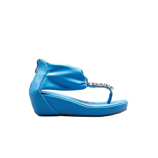 Moonbasa dream Basha diamond stripe pinch wedge Sandals 122,412,225
