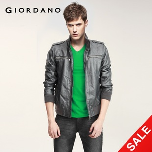 Snap up limited edition Giordano coat imitation leather jacket-men's locomotive 01071623