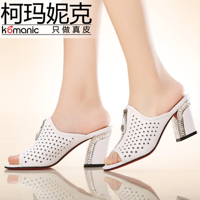 Kema Penny / Komanic new elegant diamond thick high-heeled leather open-toed shoes, sandals and slippers K47704