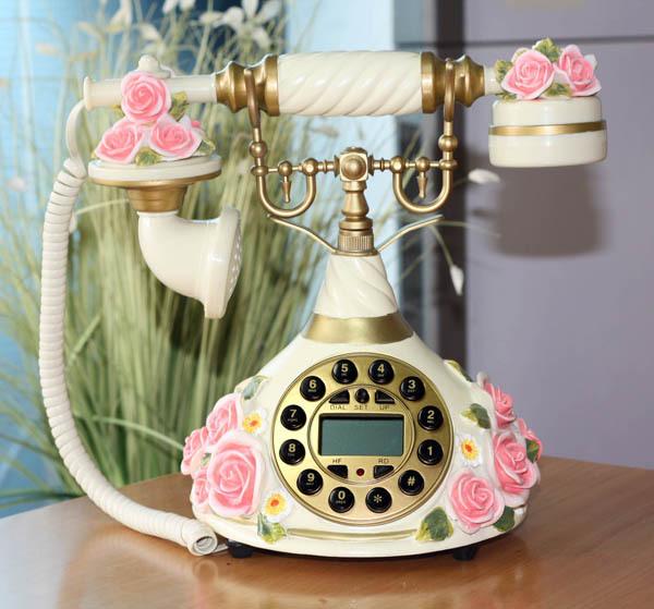 新款创意艺术个性家居摆件饰品来电显示电话机恋爱玫瑰花固定电话