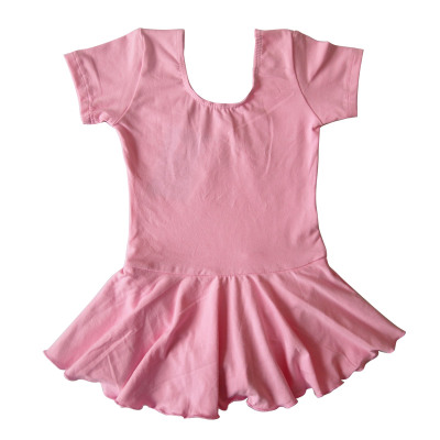 Children's clothes and show clothes and girls clothes pink short-sleeved training suit learn Siamese dance clothes leotard