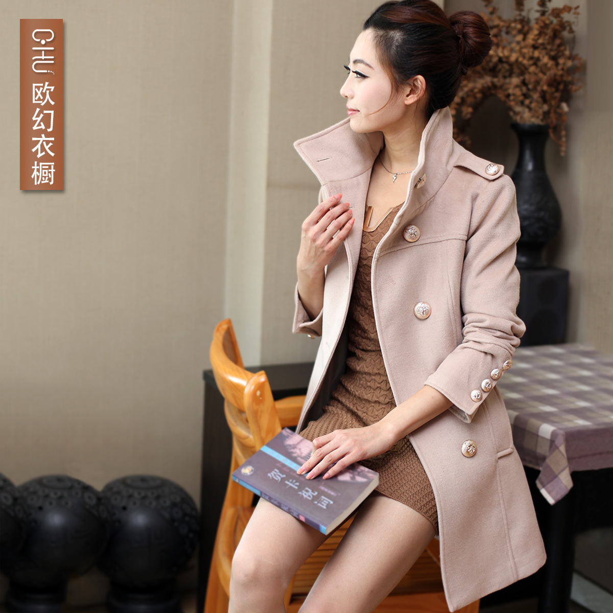 Europe 2013 spring new Korean fashion Magic Wardrobe Barret in long woolen cloth coats slim jacket