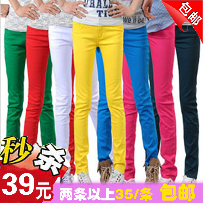  2013 spring Couture Korean Candy colored pencil pants feet of thin elastic slim fashion casual pants