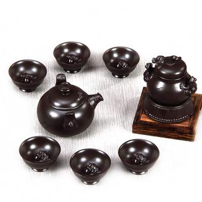 Long Detang Yixing purple sand tea set Kung fu tea set combination HuGua chun frog selected style package mail