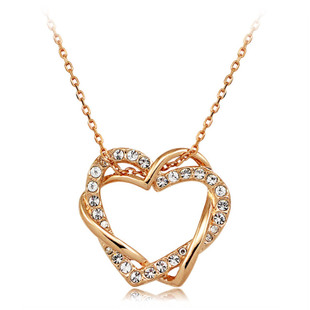 Heart connect heart jewelry Crystal necklace