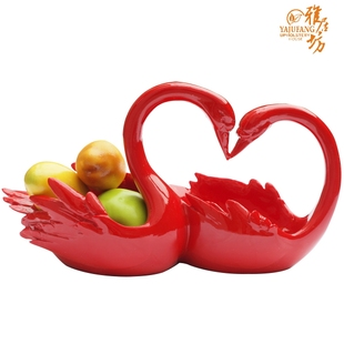 Elegance square wedding gift idea fashion lovers Swan decoration red wine fruit candy disks package mail!