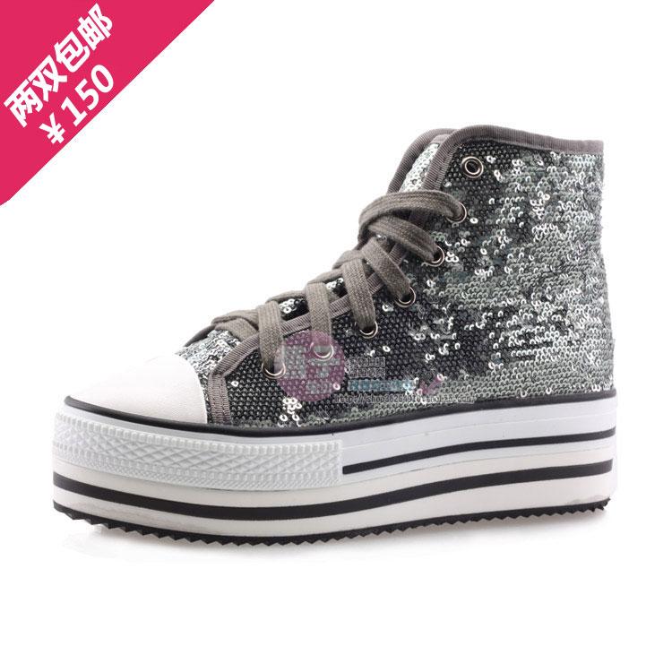 Круглый носок Плоская подошва Шнурок Средний каблук (3 -5 см) Клееная обувь С блестками, Платформа Однотонный цвет