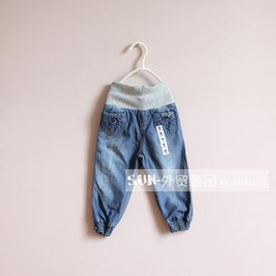 新款儿童女童童装牛仔裤外贸原单针织腰护肚秋裤子哈伦裤长裤