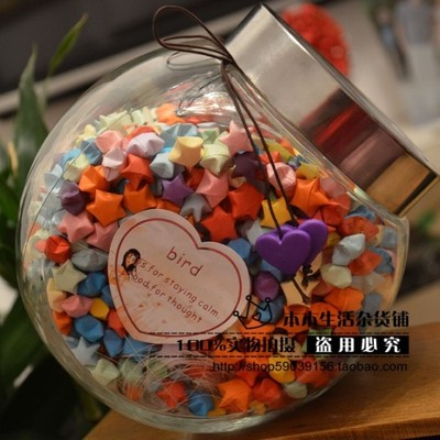 Lucky 520,1000 shipping grain solid glass bottle Wishing finished origami paper valentines