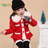 christmas and new year 2014 new year children's clothing girls fashion models plus quilted fluff piece fitted it fur collar