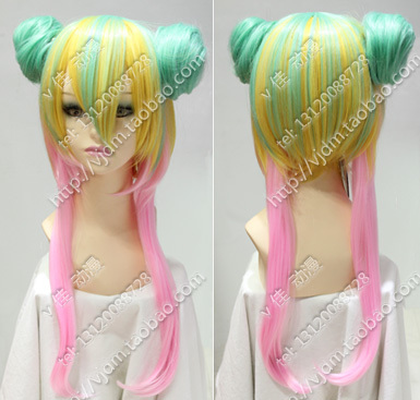 Harajuku fake hair wig cosplay lolita double cream 3 color pink gradient contracting golden hair girl