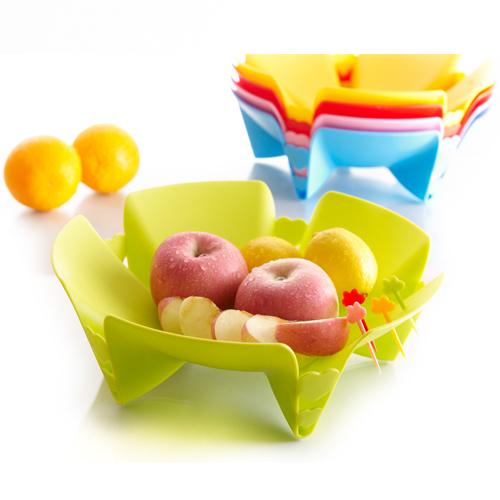 创意时尚水果盘 花朵花瓣果盘 可爱果叉塑料果盘 ...