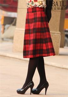2014秋冬高档女装文艺范淑女格子半身裙中长裙喇叭裙子JBAIL