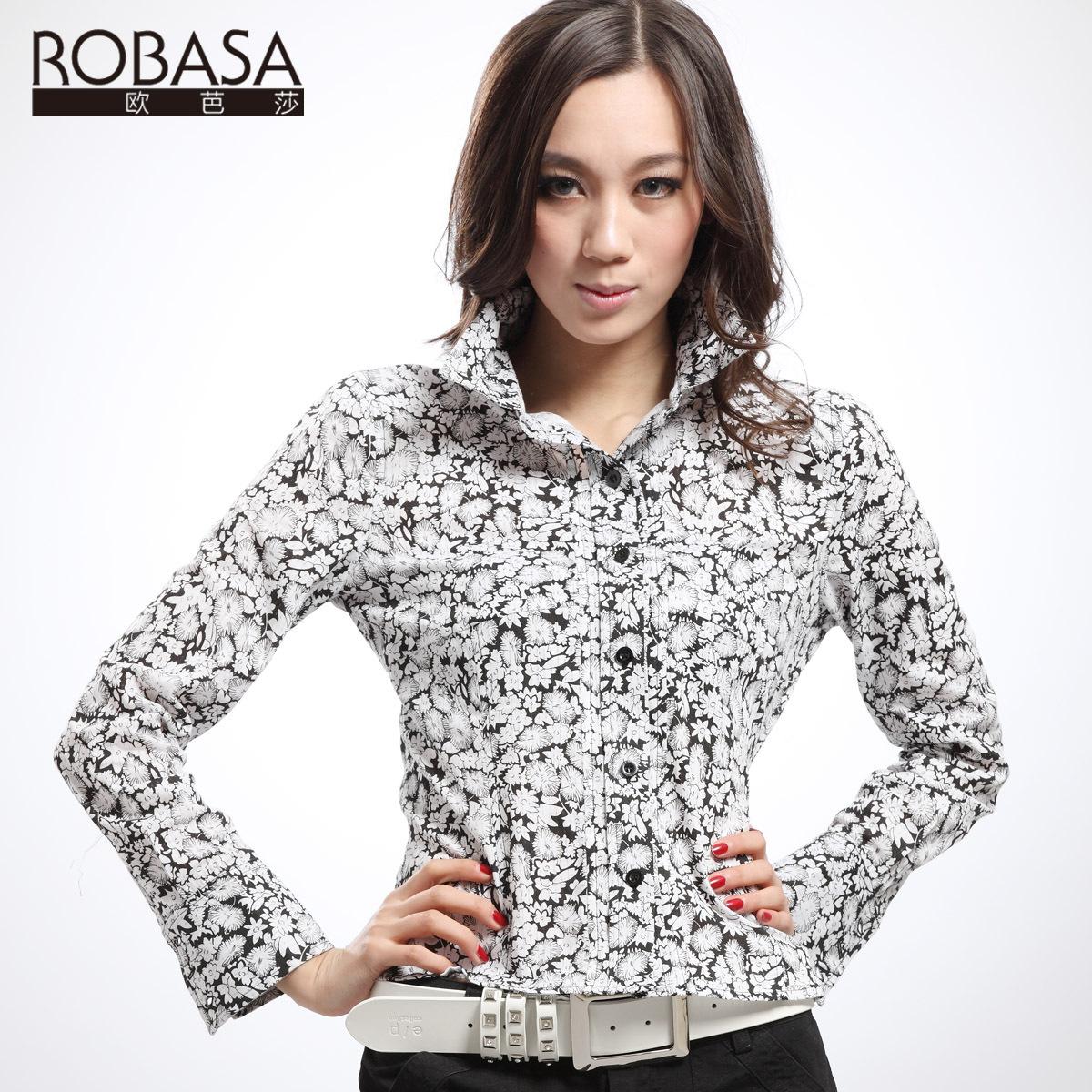 женская рубашка Robasa r301113 2013 Городской стиль Длинный рукав Рисунок в цветочек