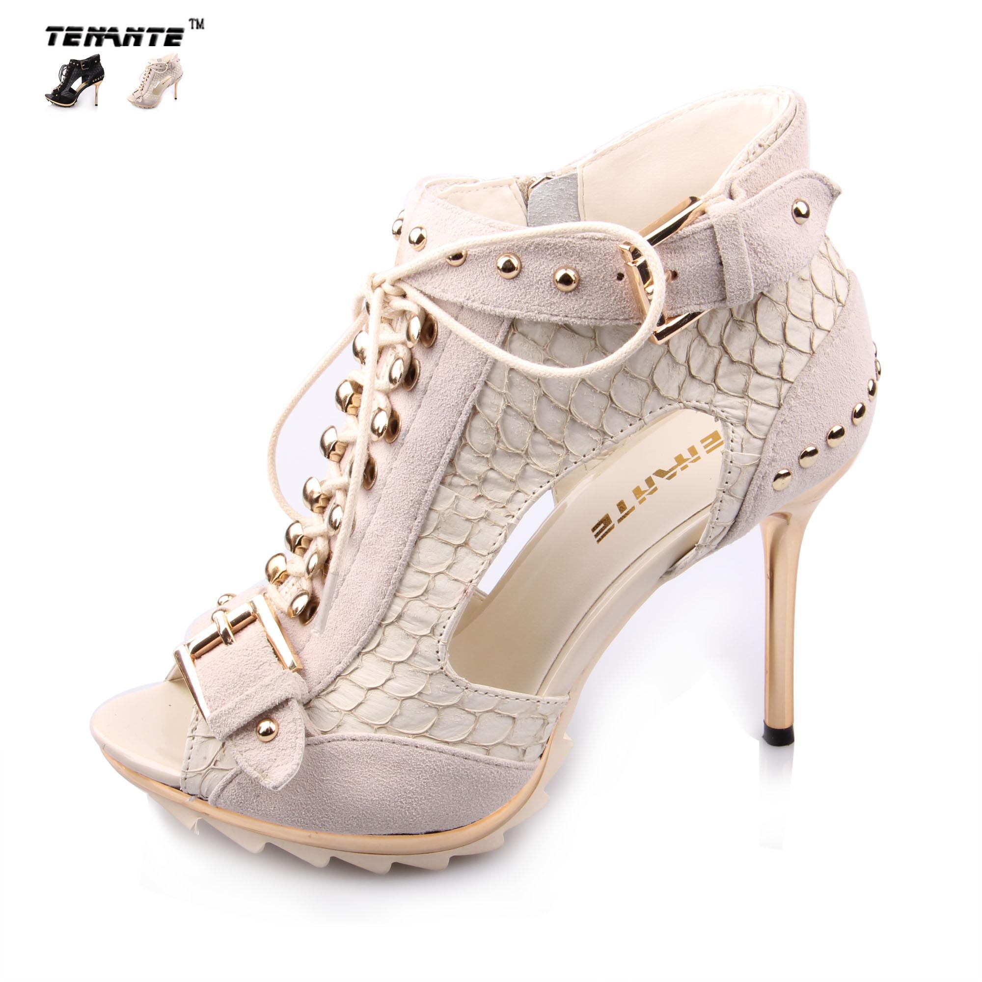 金属真皮高跟凉鞋