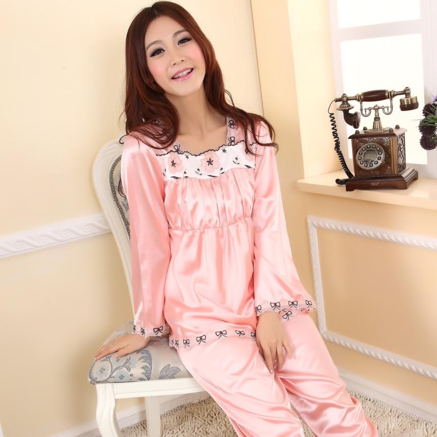 Пижама Such as Fen Имитация натурального шёлка Однотонный цвет Манжеты Для отдыха дома Жен.