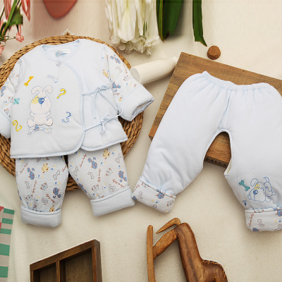 Even cotton newborn baby clothes, children's park and winter cartoon cotton lace crotch three-piece suit