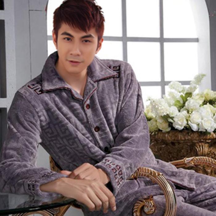 Пижама Фланель Однотонный цвет Спереди на пуговицах Для отдыха дома Для молодых мужчин