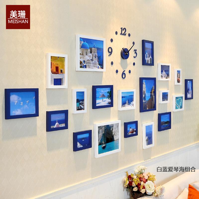 实木照片墙 相片墙钟表组合 欧式菱形创意客厅时尚相框墙 背景墙图片
