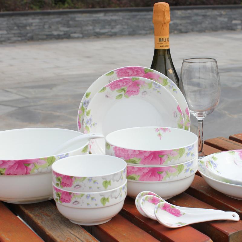 贵妃 36头 陶瓷中餐具韩式碗盘 6面碗 釉中彩 骨镁瓷 无筷架油碟