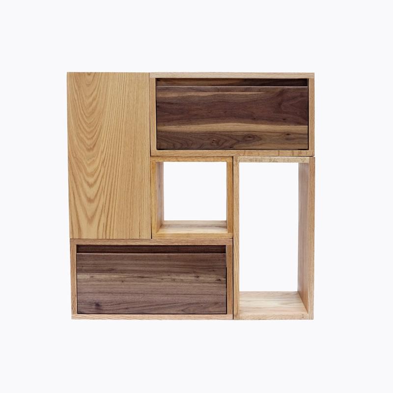 mumo木墨自在组合柜体橡木框组合书架实木书架原木组合书架置物架